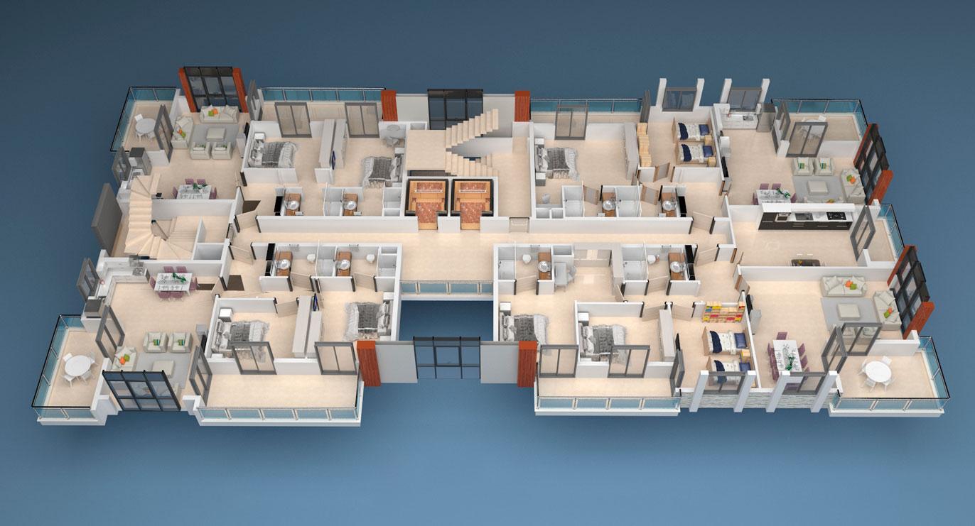 План расположения квартир 4 этаж A Yekta Alara Park Residence