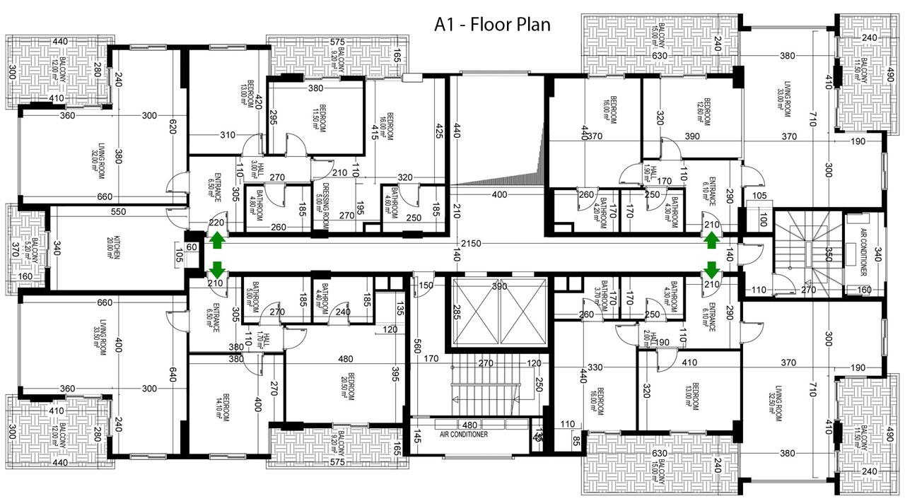 План расположения квартир 7 этаж A Yekta Alara Park Residence