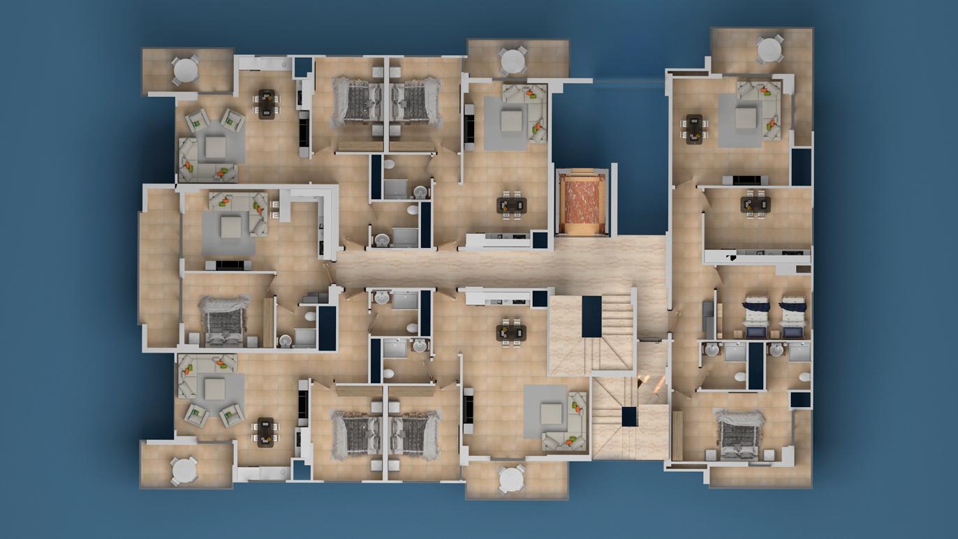 План расположения квартир 2 этаж Investment Plus