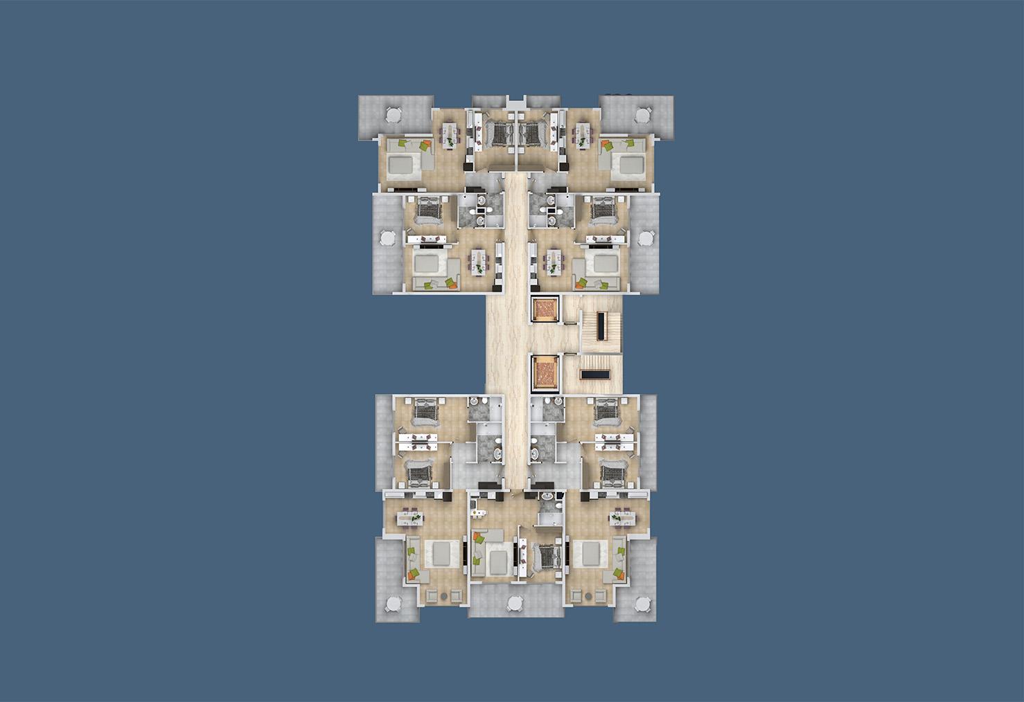 План расположения квартир 9 этаж A Yekta Kingdom Trade Center