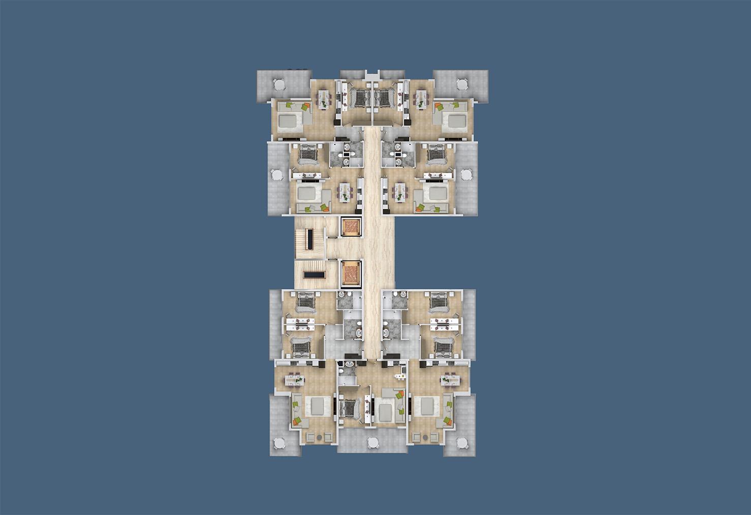 План расположения квартир 9 этаж D Yekta Kingdom Trade Center