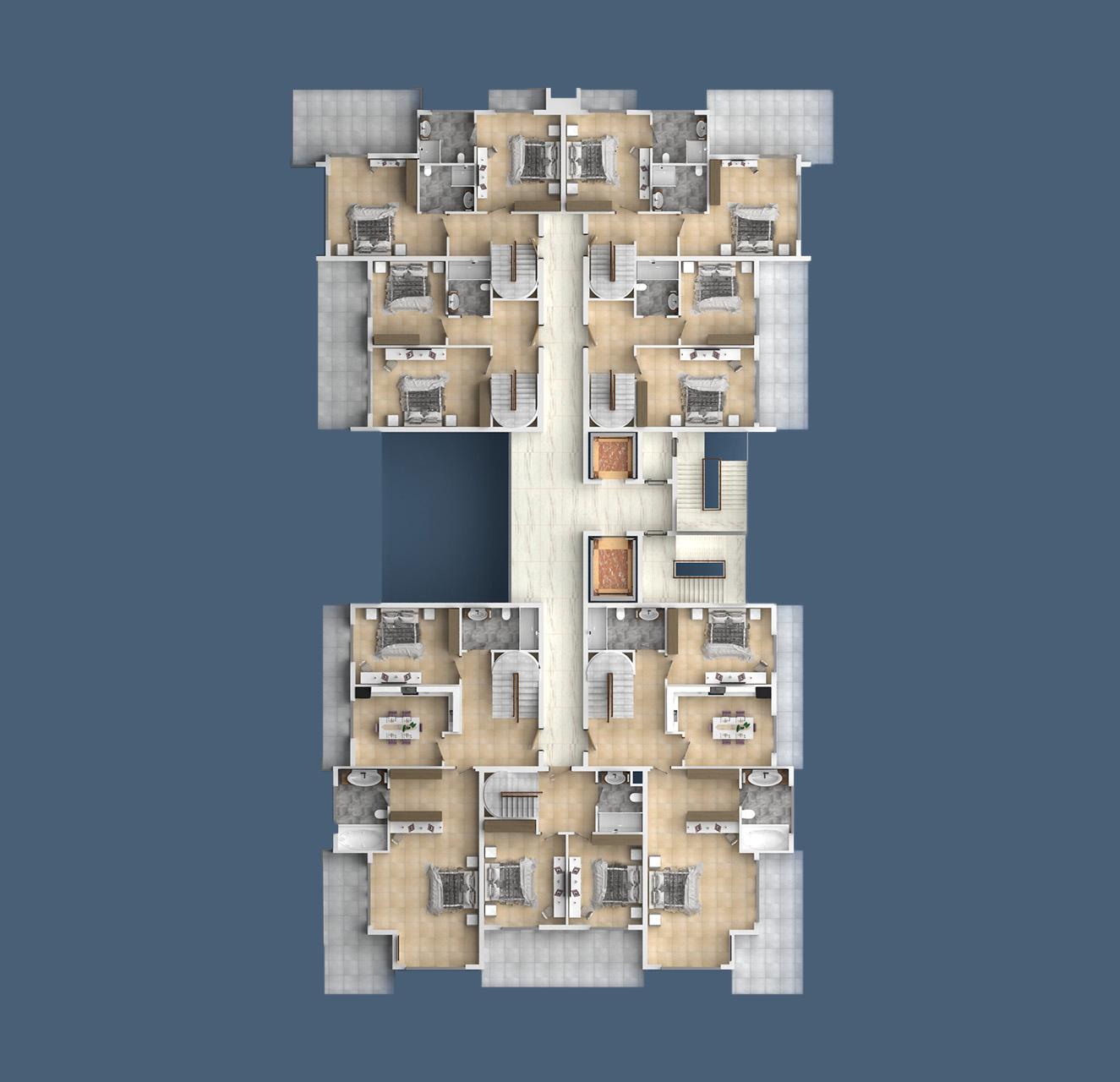 План расположения квартир 7 этаж A Yekta Kingdom Trade Center