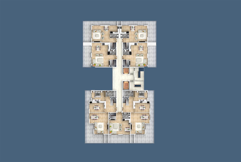 План расположения квартир 12 этаж A Yekta Kingdom Trade Center