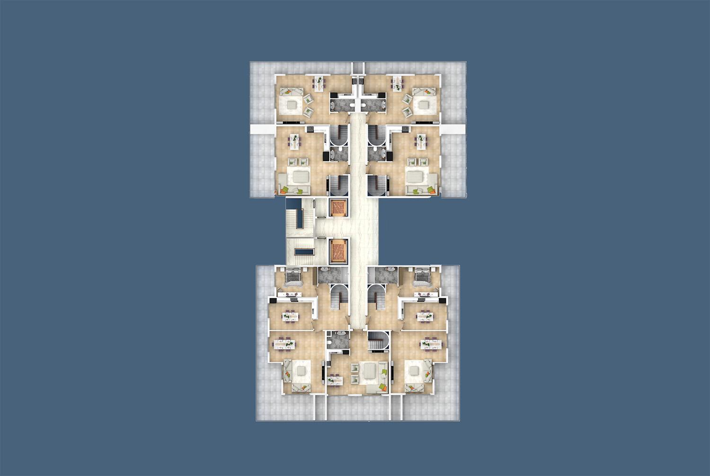 План расположения квартир 12 этаж D Yekta Kingdom Trade Center
