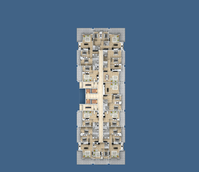 План расположения квартир 4 этаж B Yekta Kingdom Premium