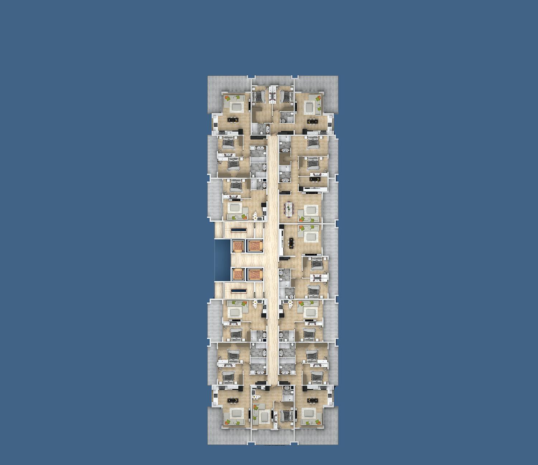 План расположения квартир 3 этаж B Yekta Kingdom Premium