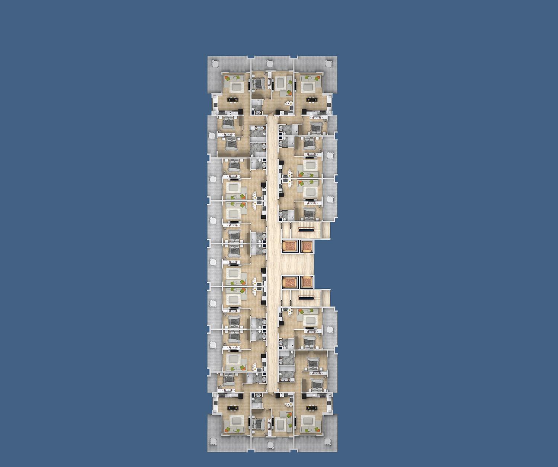 План расположения квартир 11 этаж D Yekta Kingdom Premium