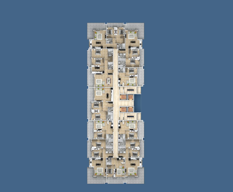 План расположения квартир 4 этаж E Yekta Kingdom Premium