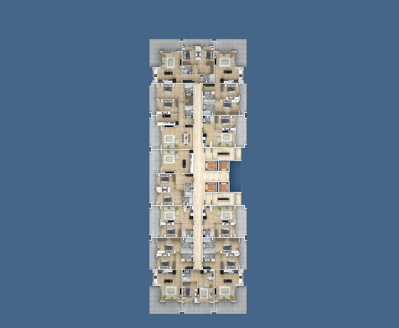 План расположения квартир 9 этаж E Yekta Kingdom Premium