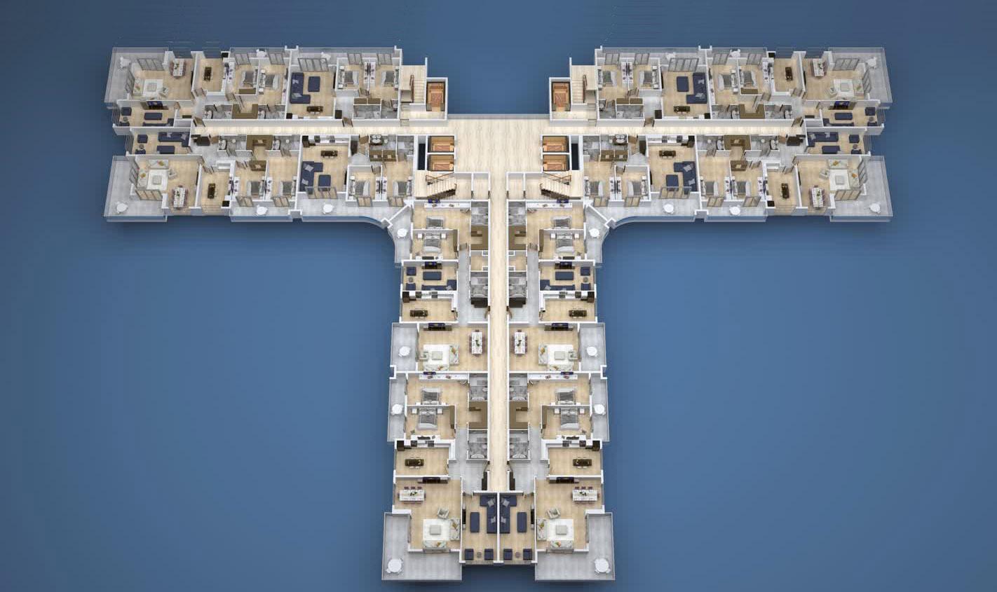 План расположения квартир 1 этаж A Yekta Kingdom Premium
