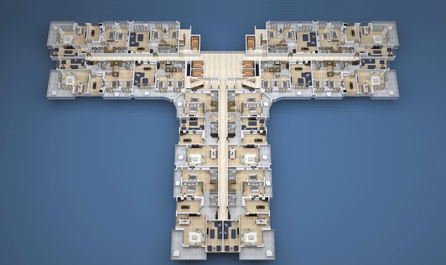 План расположения квартир 2 этаж A Yekta Kingdom Premium