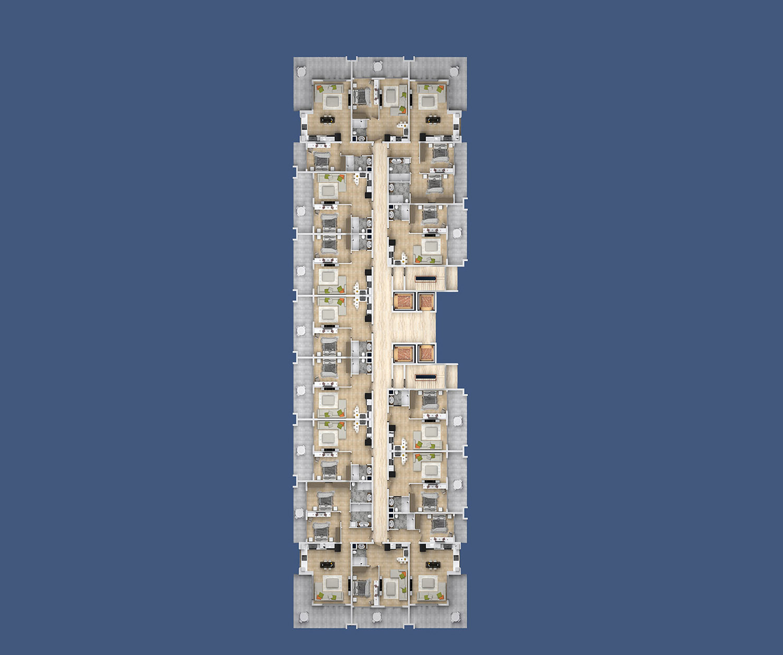 План расположения квартир 1 этаж D Yekta Kingdom Premium