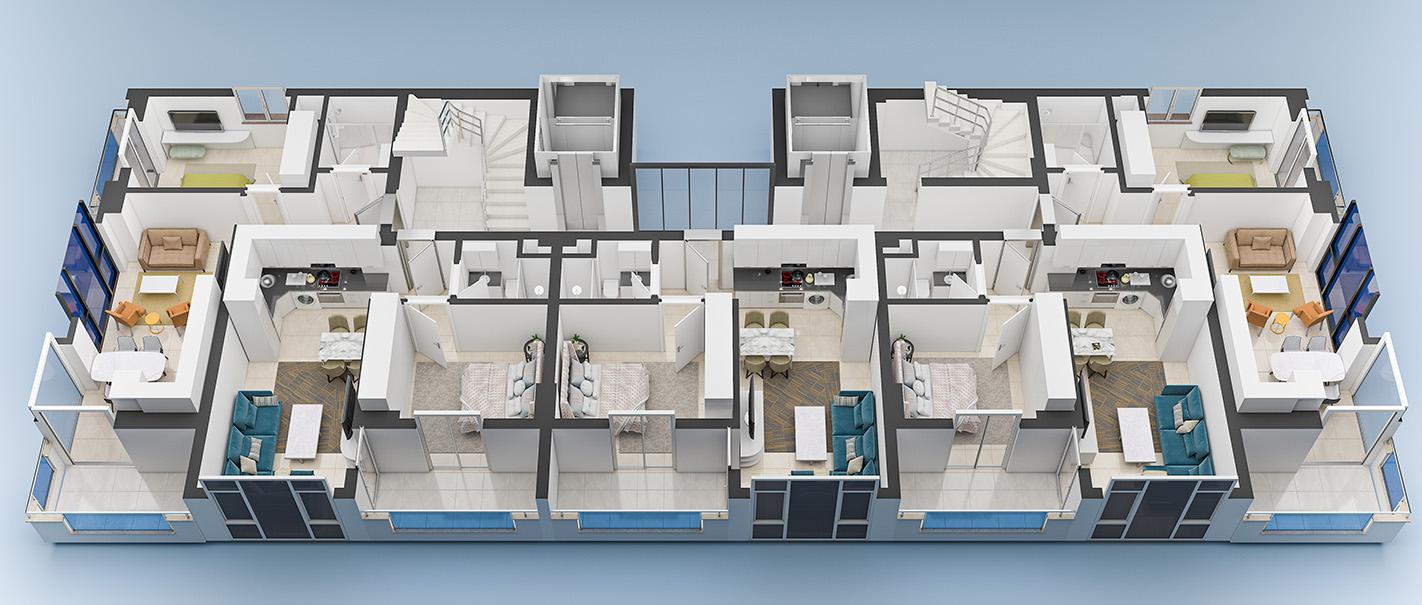 План расположения квартир 4 этаж Yekta Blue 3 Residence