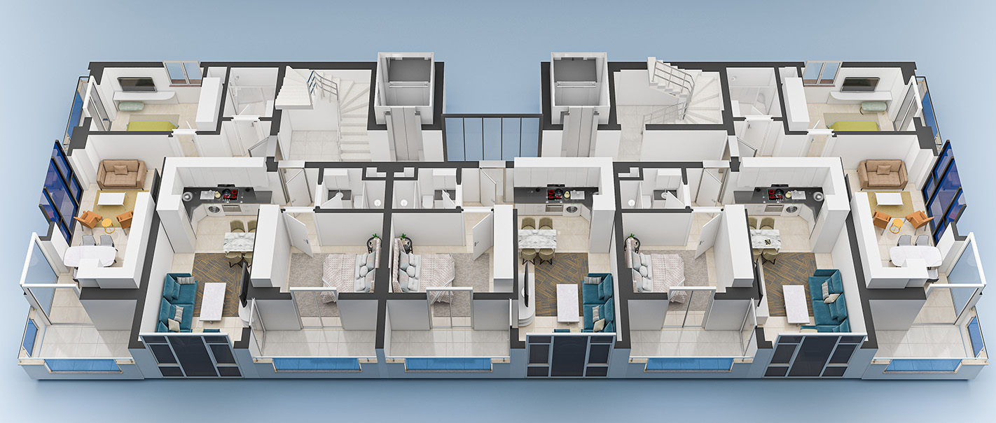 План расположения квартир 7 этаж Yekta Blue 3 Residence