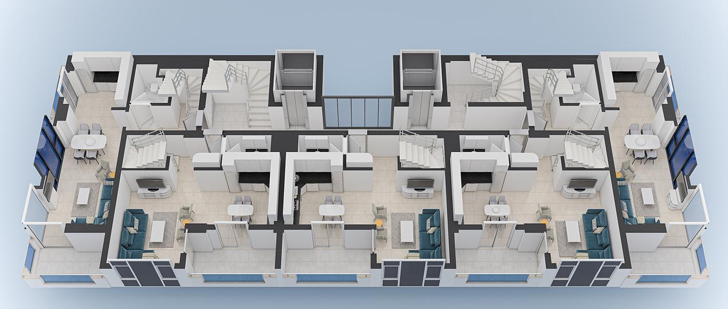 План расположения квартир 9 этаж Yekta Blue 3 Residence